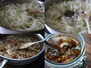 preparación de mermelada de cebolla